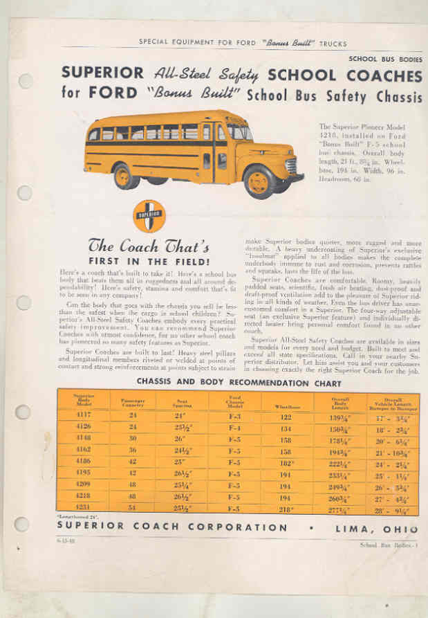 1948 Ford Superior School Bus Brochure