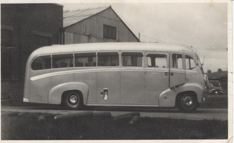 1950 Kenex Coachworks 32 Seat Austin Coach outside their Eastmead Works, Ashford, Kent. 1950