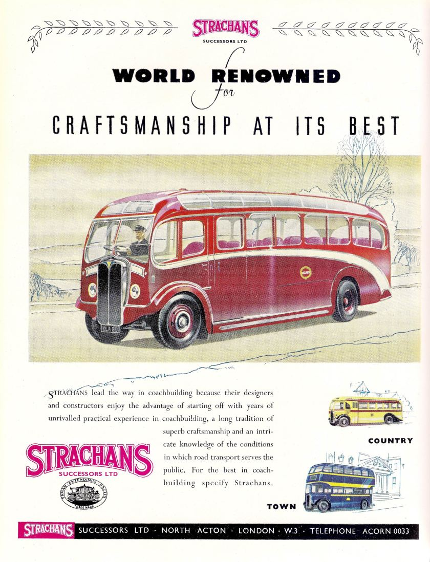 1950 Strachans coach and bus bodies, advert, c1950