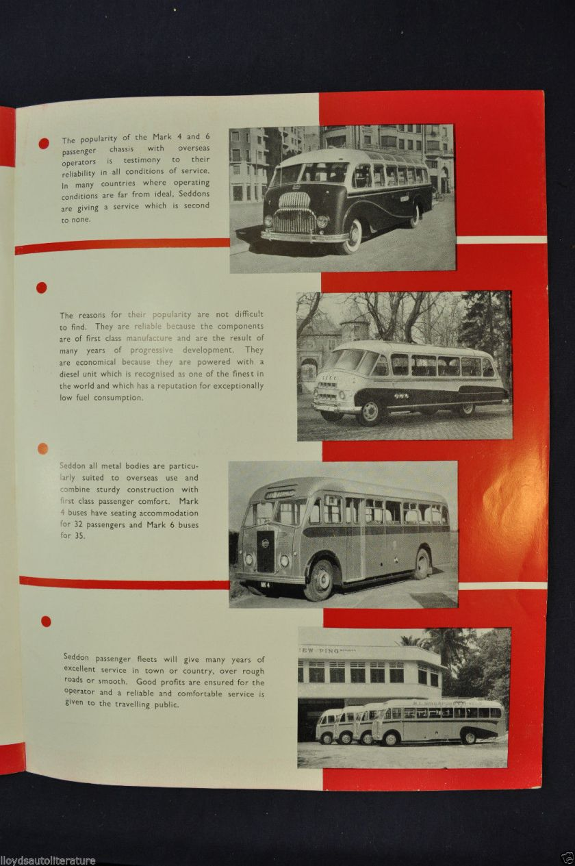 1951-1952 Seddon Diesel Bus Mark 4 & 6 Sales Brochure Folder Nice Original a