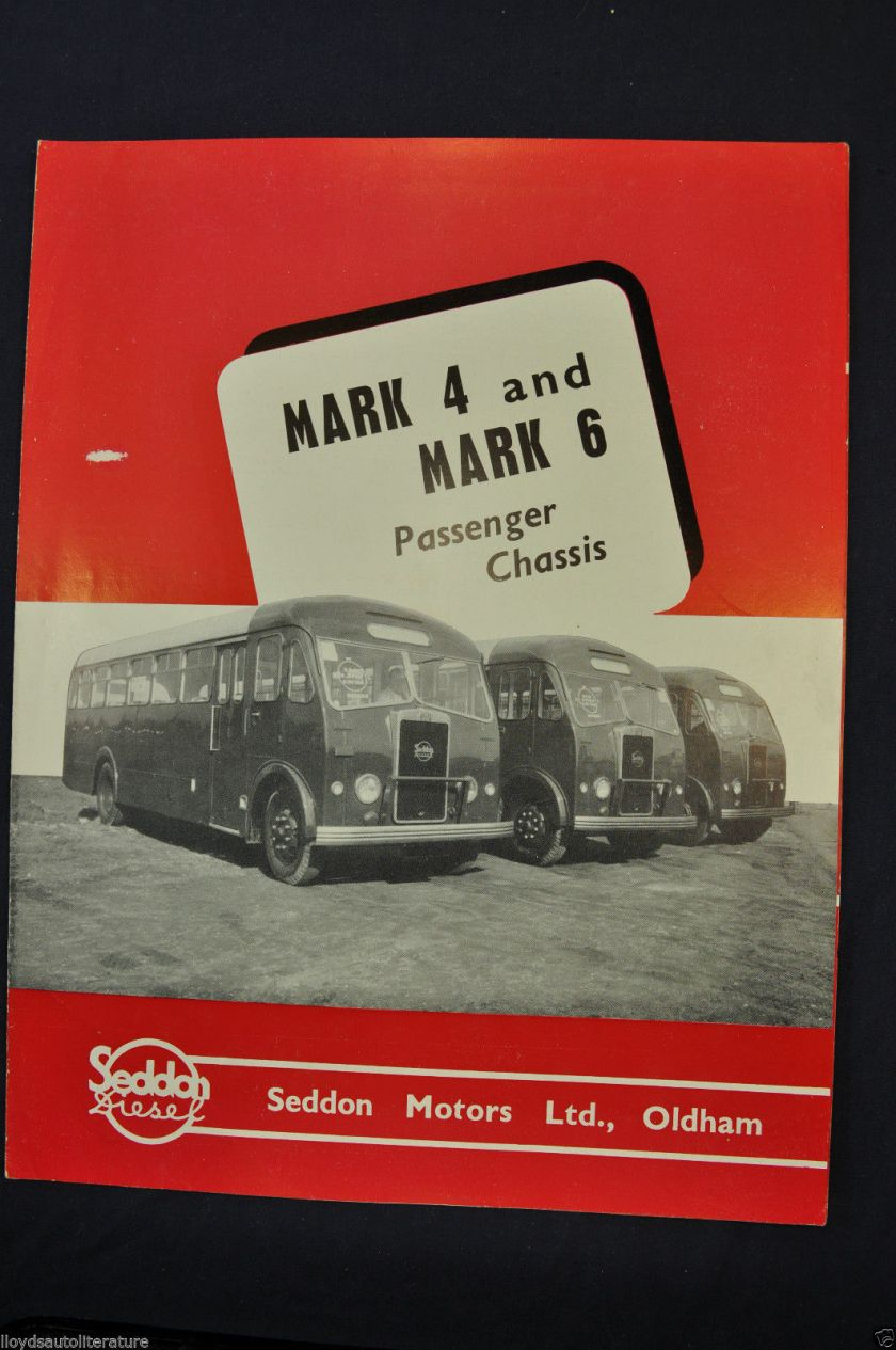 1951-1952 Seddon Diesel Bus Mark 4 & 6 Sales Brochure Folder Nice Original