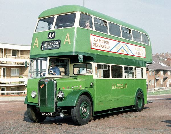 1951 AEC Regent OKM317. It was originally a demonstrator for Saunders Roe