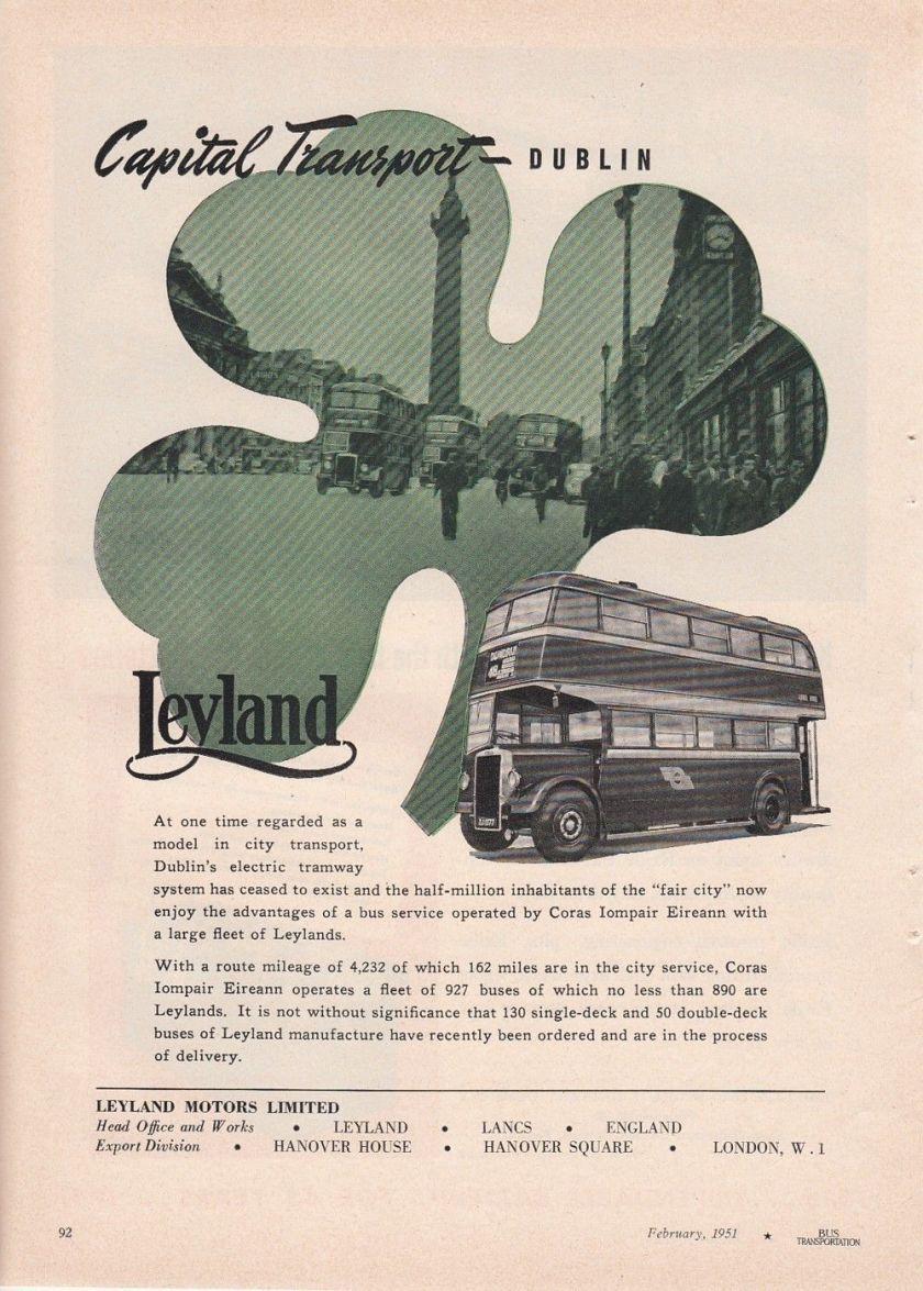 1951 Leyland Motors Ltd Leyland UK Ad Dublin Ireland Double-Decker Bus