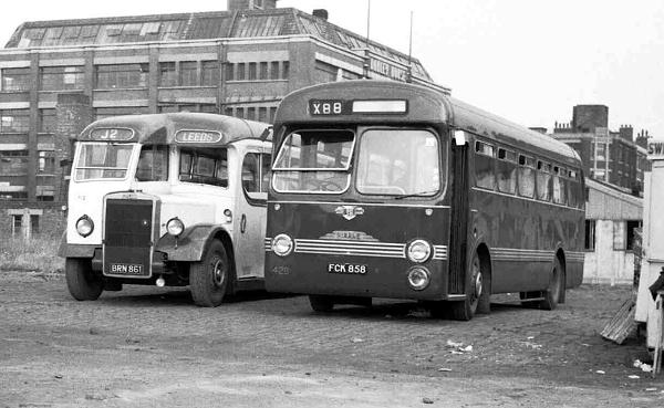 1953 Leyland PS1-1 with a Burlingham C31F body and Ribble 426, FCK858, a Leyland PSUC1-1 Tiger Cub with a Saro B44F body