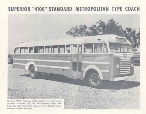 1953 Superior 4100 Metropolitan Coach Bus Brochure