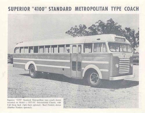 1953 Superior 4100 Metropolitan Coach Bus Brochure