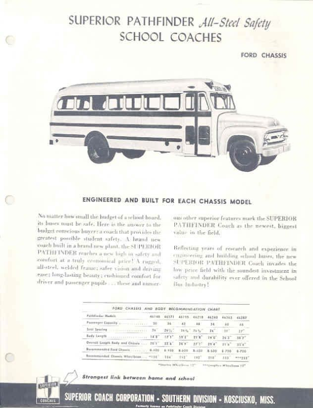 1953 Superior Ford Pathfinder School Bus Brochure