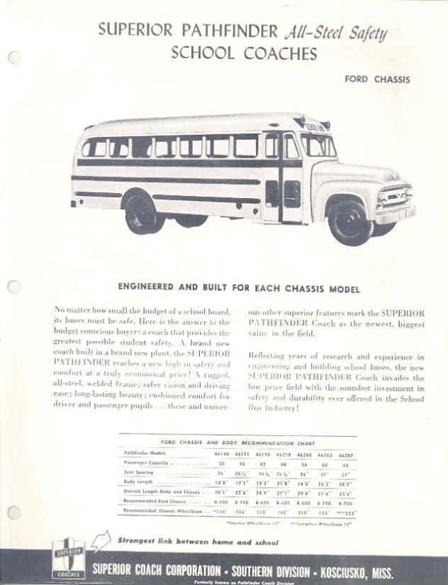 1953 Superior Ford Pathfinder School Bus Brochure