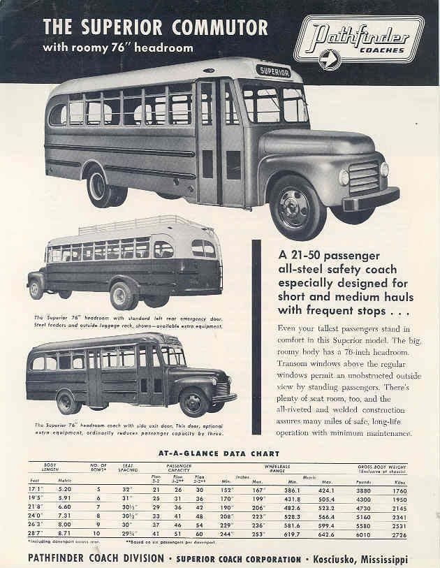 1953 Superior Pathfinder Commuter Transit Bus Brochure