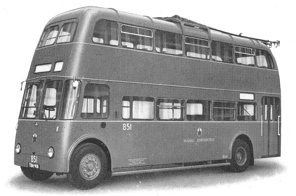 1954 Sunbeam 2 axle, double deck trolleybus, 30 ft. overall length, built for Walsall Corporation in 1954
