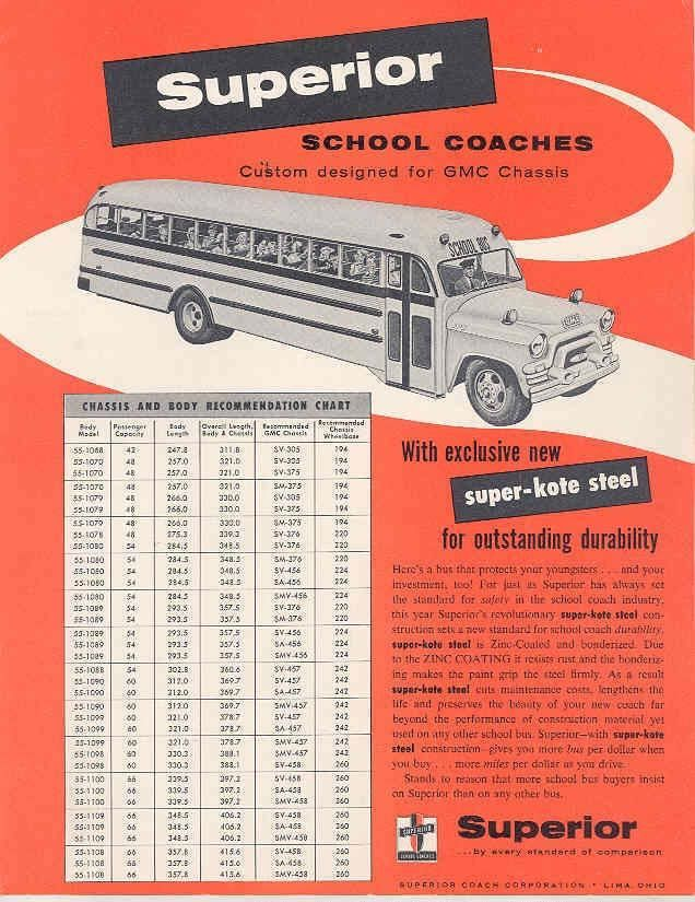 1955 GMC Superior School Bus Sales Brochure