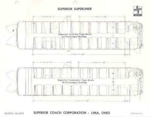 1955 Superior 45 & 67 Passenger Superliner Bus Brochure