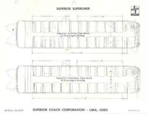 1955 Superior 45 & 67 Passenger Superliner Bus Brochure