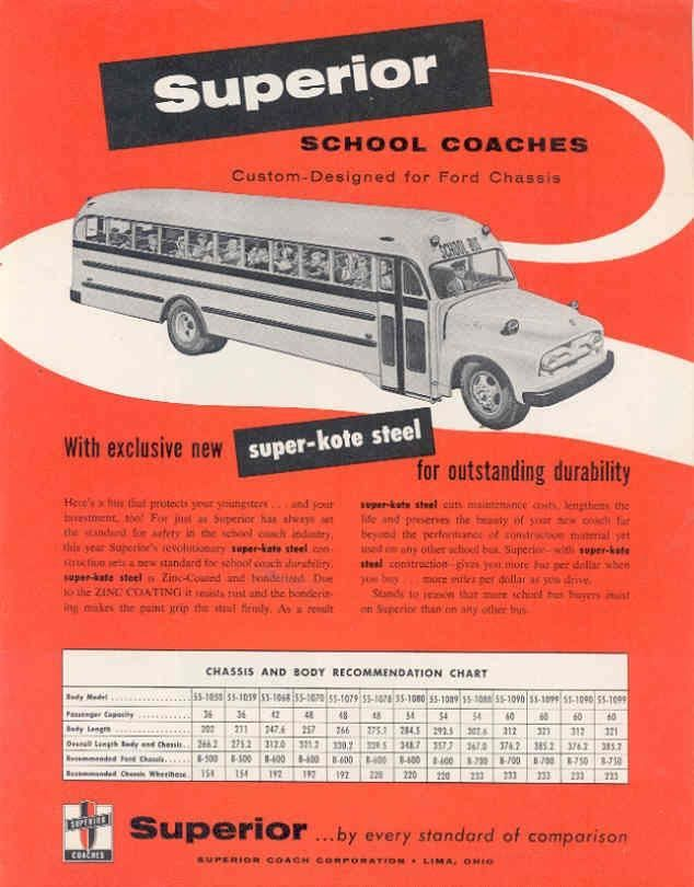 1955 Superior School Bus Sales Brochure