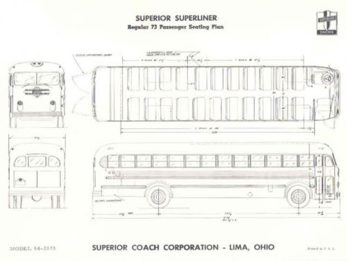 1955 Superior Superliner 73 Passenger Bus Brochure