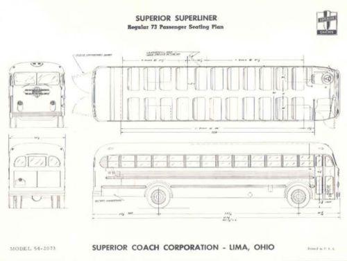 1955 Superior Superliner 73 Passenger Bus Brochure
