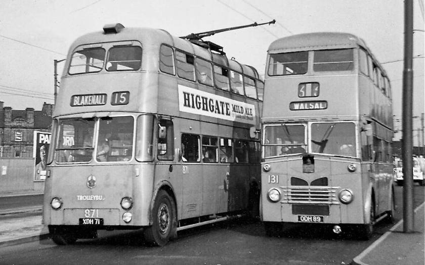 1956-51 Willowbrook-bodied Sunbeam F4A, passes 131, ODH89, a full-front Park Royal-bodied Leyland PD2-1 of 1951