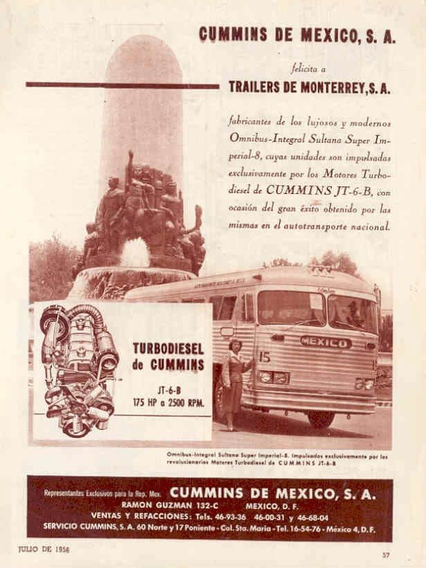 1956 Sultana Imperial Bus Ad Mexico Cummins