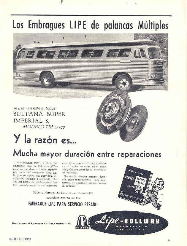 1956 Sultana Super Imperial 8 TM3780 Bus Ad Mexico