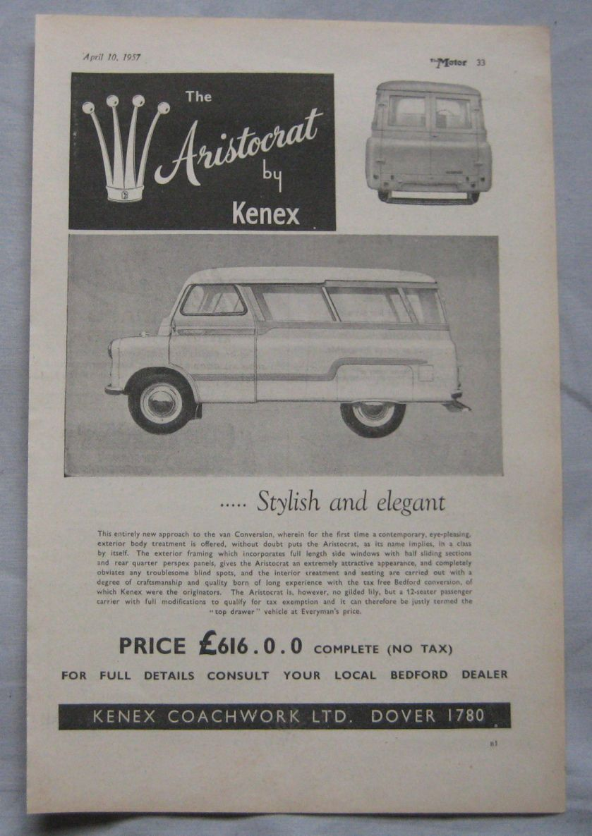 1957 Kenex Aristocrat Original advert