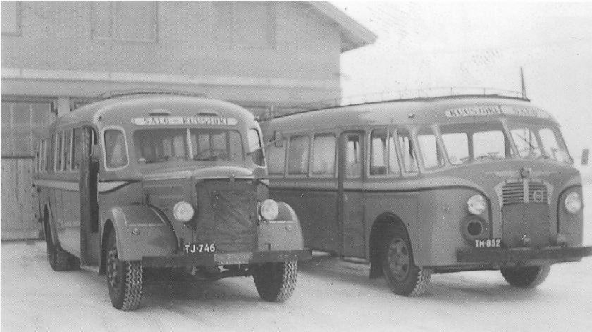 1957 Sisu 1951 and Volvo 1948 in year 1957
