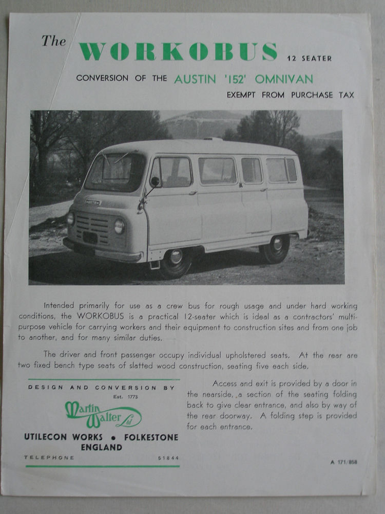 1958 Martin Walter Austin 152 Omnivan Workobus 12 Seater Conversion brochure Aug Kenex