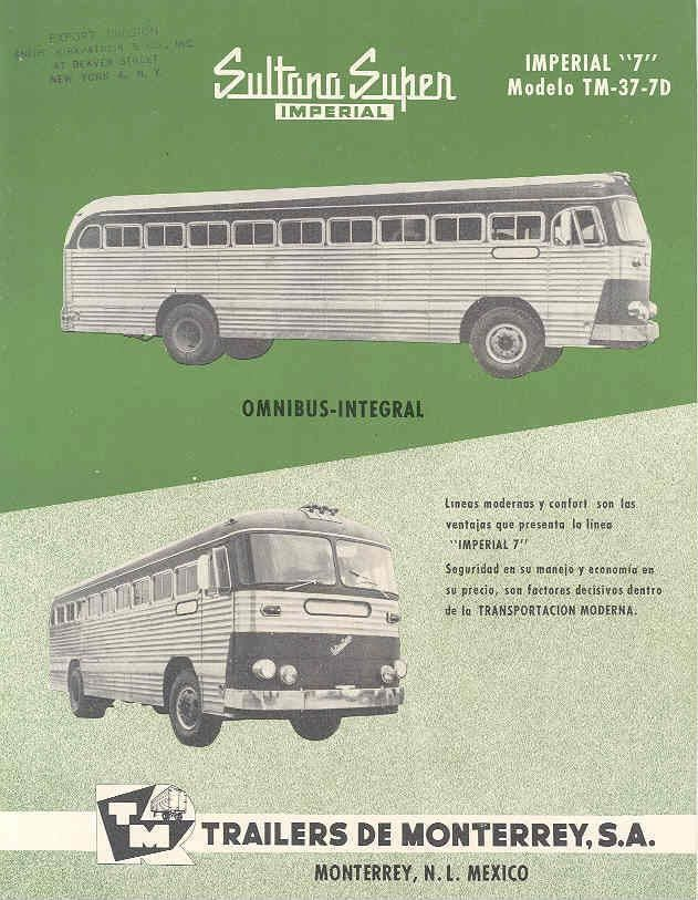 1959 Sultana Imperial TM37-7D Bus Brochure Mexico