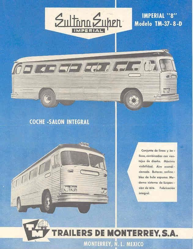 1959 Sultana Imperial TM37-8D Bus Brochure Mexico