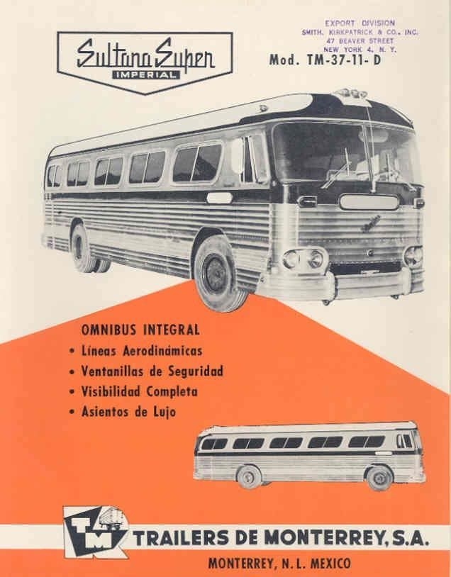 1959 Sultana Super Imperial TM3711D Bus Brochure Mexico