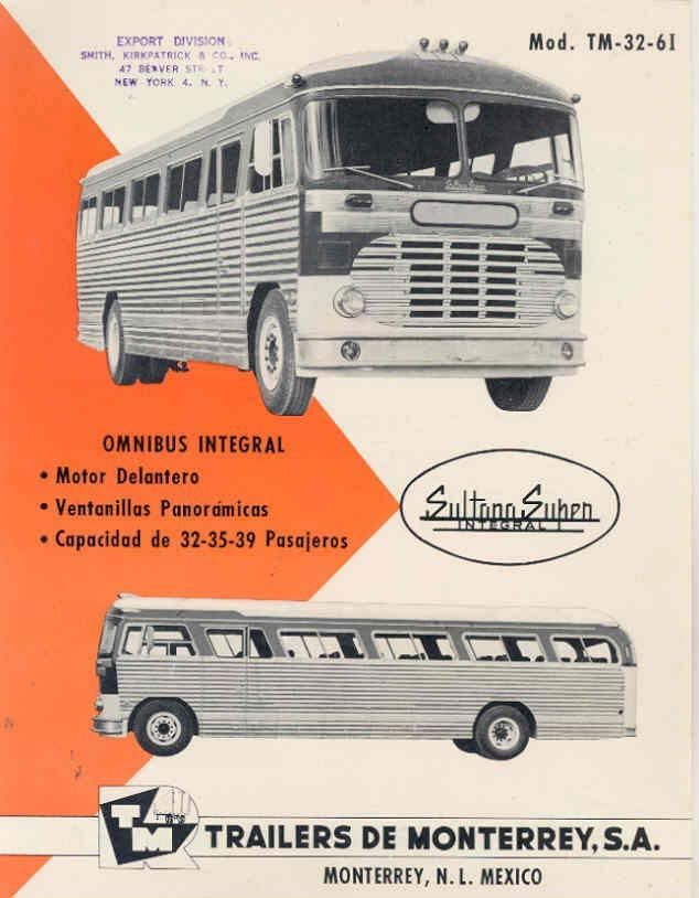 1959 Sultana Super Integral TM3261 Bus Brochure Mexico