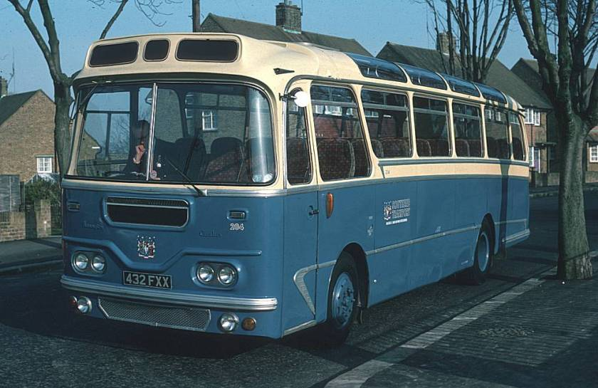 1960 Leyland Leopard coach was Southend 204, 432FXX, ex Grey Green Harrington example