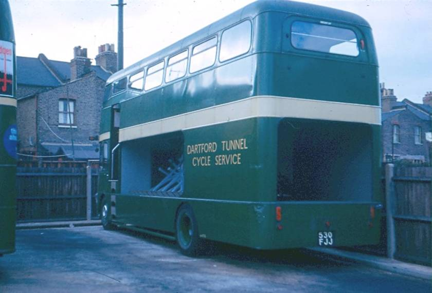 1963 Ford Thames Traders with Strachans bodies seating 33 upstairs and carrying 23 bikes downstairs b