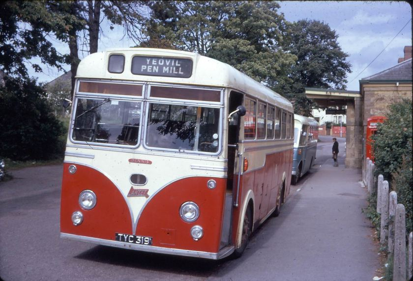 1963 Hutchings & Cornelius Strachans bodied Dennis Lancet TYC 319 lays over after running in from its South Petherton home while CYC 669C, a Bedford SB5-Strachans