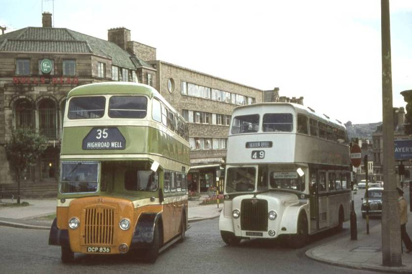 1964 Daimler 92, DCP836, passing Guy Arab V demonstrator 888DUK on trial with the corporation