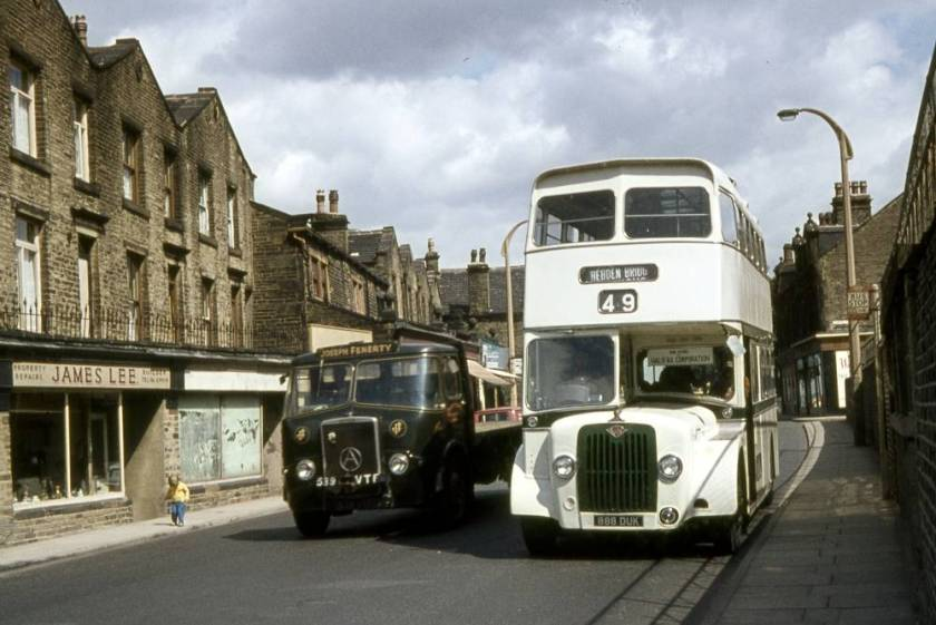 1964 Guy Arab V demonstrator 888DUK on trial with Halifax Corporation in summer 1964. It carried a Strachan front entrance body