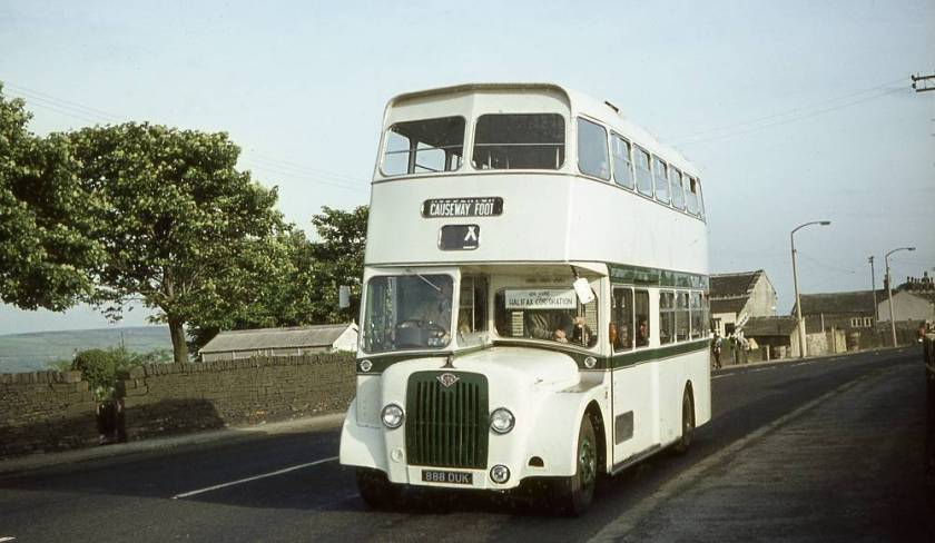 1964 Guy demonstrator 888DUK with Halifax Corporation in June 1964. It carried a Strachan front entrance body.