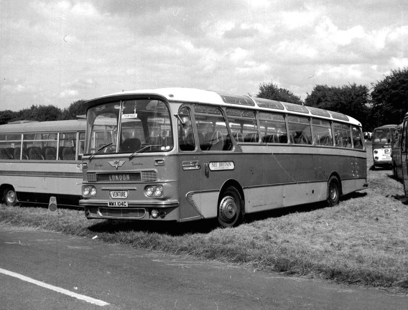 1965 AEC Harrington C45F Cavalier 36 with a Grenadier front lower panel and a Grenadier roof dome and windscreen