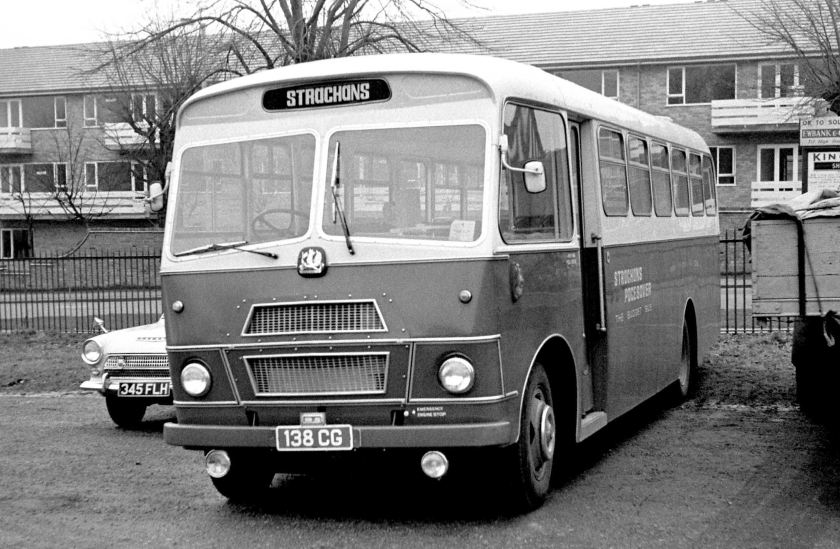 1965 Bedford SB Strachan Pacesaver B--F demonstrator parked at Sandown Park Race Course, Esher, Surrey