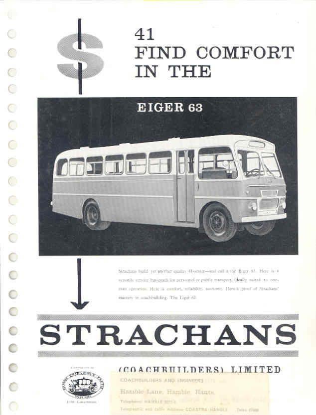 1965 Strachans Eiger 63 Bus Brochure England