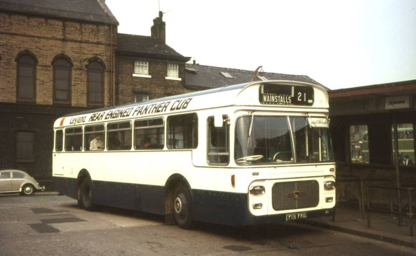 1966 Leyland demonstrator YTB771D on test with Halifax Corporation, a Leyland PSRC1-1 Panther Cub with a Strachans B43D body