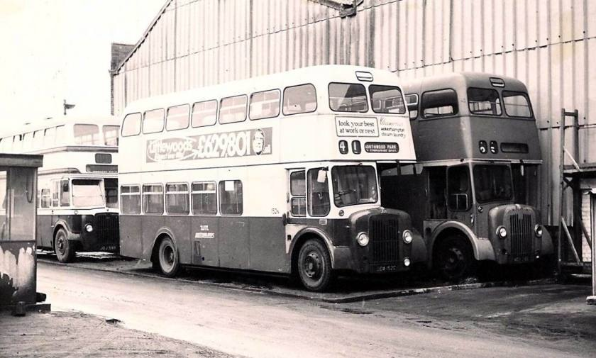 1967 Two Strachan bodied Guy Arabs are closest - 152N in cream-blue ansd not then yet withrawn, alongside 216N