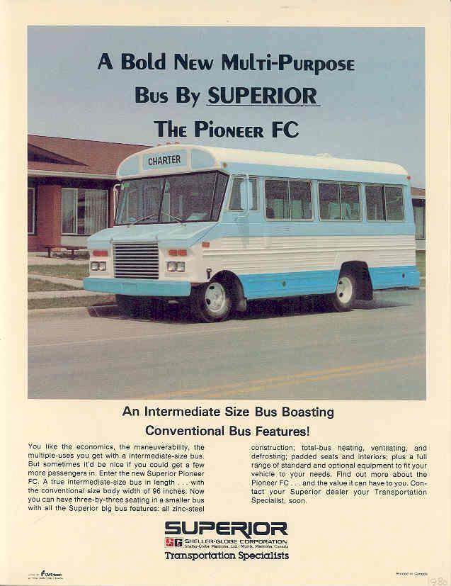 1980 Superior Pioneer FC Shuttle Bus Brochure