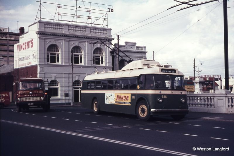 Barrack Street Bridge Route 18 Southbound Sunbeam Trolleybus 846