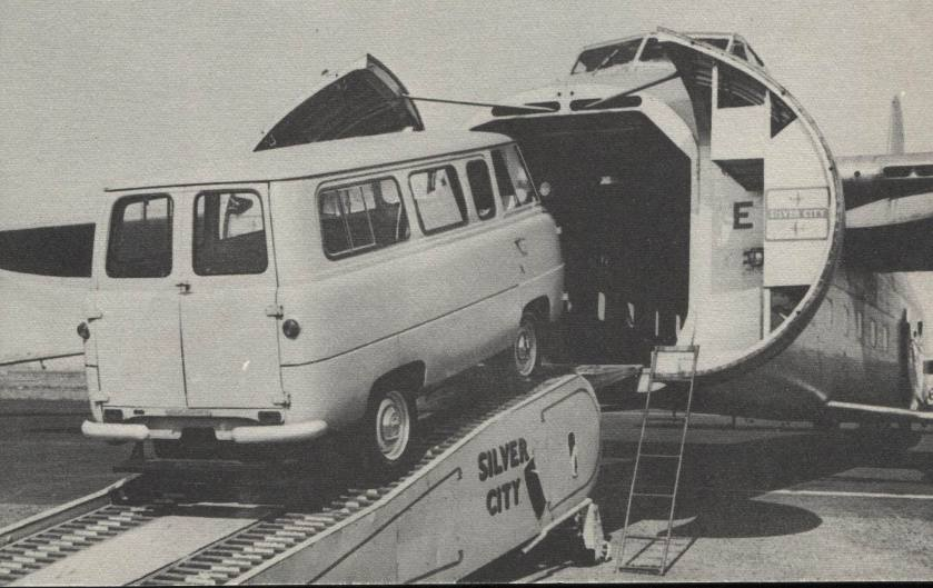 Ford 400 E minibus 12 seater, 6 aside 'head banger' special, drives into a Silver City Bristol freighter  Kenex 12 seater crew bus