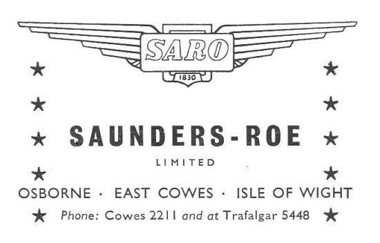 SaundersRoe Company 1954 Company