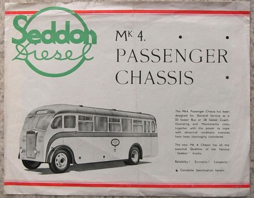 SEDDON Mk 4 PASSENGER CHASSIS Sales Brochure NO DATE