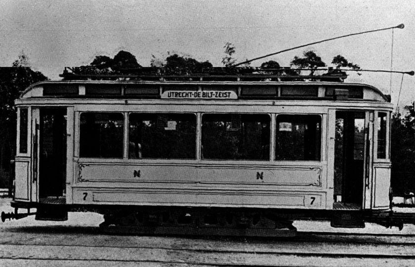 1909 Motorwagen 7 van de tramlijn Utrecht - Zeist