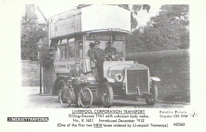 1912 Transport Postcard - Bus - Tilling-Stevens TTA1 No.K1631 - December 1912 2873