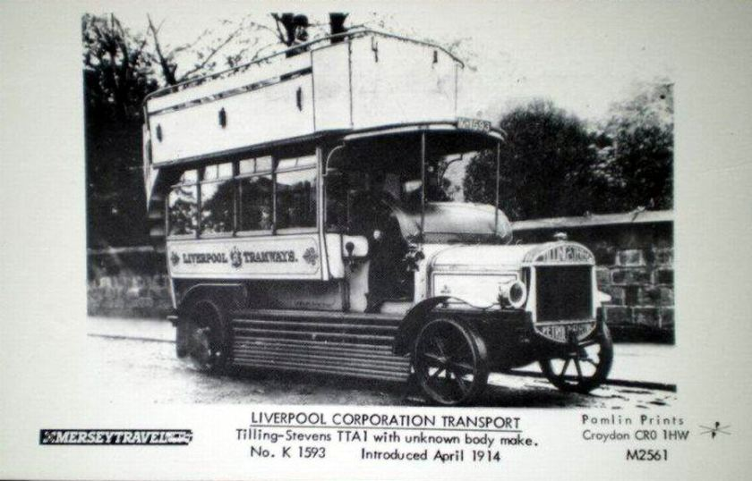 1914 POSTCARD RP LIVERPOOL CORPORATION TILLING STEVENS BUS TTA1 NO K 1593