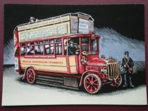 1914 POSTCARD TILLING STEVENS 46 SEAT DOUBLE DECKER BUS ISLE OF MAN